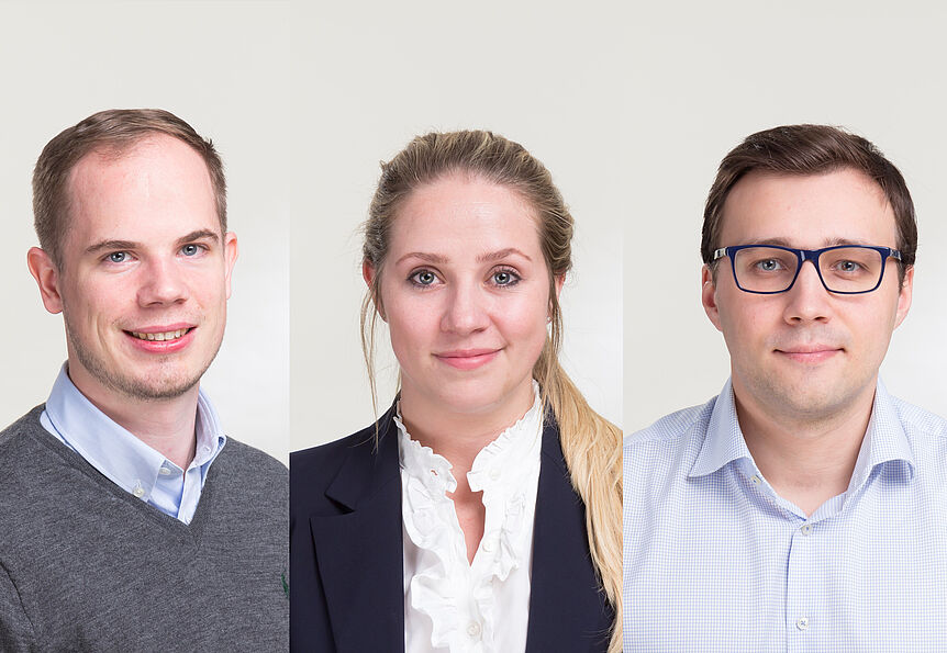 3 portrait picture are montaged next to each other. They are VGSE students Bernhard Kasberger, Hendre Garbers and Anton Sobolev